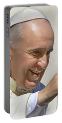 Portable Battery Charger featuring the painting Pope Francis Artwork by Sheraz A