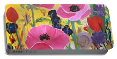 Poppies And Time Traveler Portable Battery Charger