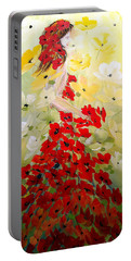 Poppies Lady Portable Battery Charger by Dorothy Maier