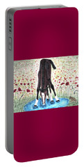 Poppies N  Puddles Portable Battery Charger by Angela Davies