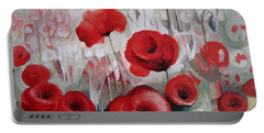 Portable Battery Charger featuring the painting Poppy Flowers by Elena Oleniuc