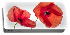 Poppy Flowers On White Portable Battery Charger