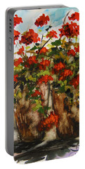 Porch Geraniums Portable Battery Charger by John Williams