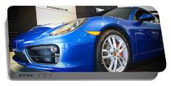 Porsche Cayman S In Sapphire Blue Portable Battery Charger