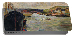 Port At Rouen Oil On Canvas Portable Battery Charger