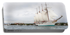 Juan Sebastian De Elcano Famous Tall Ship Of Spanish Navy Visits Port Mahon In Front Of Bloody Islan Portable Battery Charger by Pedro Cardona