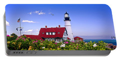 Portland Head Light And Roses Portable Battery Charger by Mitchell R Grosky
