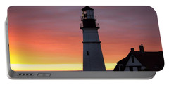 Portland Head Light At Dawn Portable Battery Charger