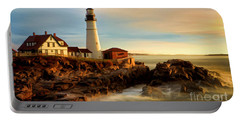 Portland Head Lighthouse At Dawn Portable Battery Charger