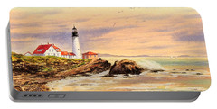 Portland Head Lighthouse Maine Portable Battery Charger by Bill Holkham