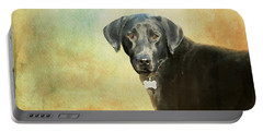 Portrait Of A Black Labrador Retriever Portable Battery Charger