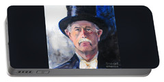 Portable Battery Charger featuring the painting Portrait Of A Man In Top Hat by Greta Corens