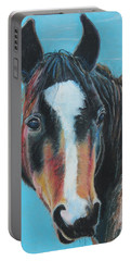 Portable Battery Charger featuring the painting Portrait Of A Wild Horse by Jeanne Fischer