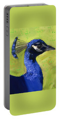 Portable Battery Charger featuring the painting Portrait Of A Peacock by Deborah Boyd