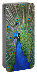 Portrait Of A Peacock Portable Battery Charger by Diane Alexander