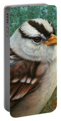 Portrait Of A Sparrow Portable Battery Charger by James W Johnson