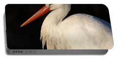 Portrait Of A Stork With A Dark Background Portable Battery Charger