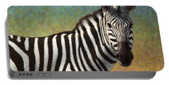 Portrait Of A Zebra Portable Battery Charger by James W Johnson