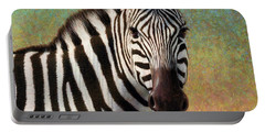 Portable Battery Charger featuring the painting Portrait Of A Zebra - Square by James W Johnson