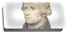 Portrait Of Alexander Hamilton On White Background Portable Battery Charger by Keith Webber Jr