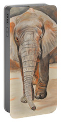 Portable Battery Charger featuring the painting Portrait Of An Elephant by Jeanne Fischer