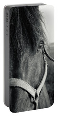 Portrait Of Horse In Black And White Portable Battery Charger by Peter v Quenter
