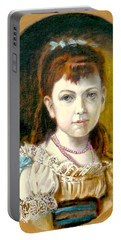 Portable Battery Charger featuring the painting Portrait Of Little Girl by Henryk Gorecki