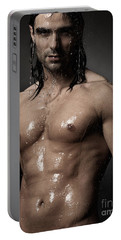 Portrait Of Man With Wet Bare Torso Standing Under Shower Portable Battery Charger