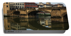 Postcard From Florence - Arno River And Ponte Santa Trinita  Portable Battery Charger