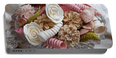 Potpourri In Pink And Cream Portable Battery Charger by Connie Fox