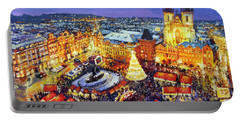 Prague Old Town Square Christmas Market 2014 Portable Battery Charger