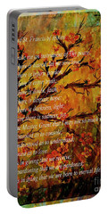Prayer Of St. Francis Of Assisi  And Cherry Blossoms Portable Battery Charger