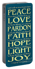 Prayer Of St Francis - Subway Style - Teal And Yellow Portable Battery Charger