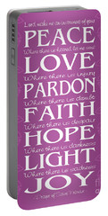 Prayer Of St Francis - Victorian Radiant Orchid Portable Battery Charger by Ginny Gaura