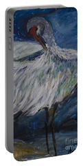 Portable Battery Charger featuring the painting Preening Crane by Avonelle Kelsey