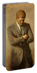 President John F. Kennedy Official Portrait By Aaron Shikler Portable Battery Charger