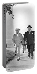 President Truman On A Walk Portable Battery Charger by Underwood Archives