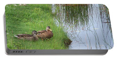 Mated Pair Of Ducks Portable Battery Charger by Eunice Miller