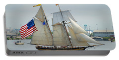 Pride Of Baltimore II Passing By Fort Mchenry Portable Battery Charger