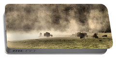 Buffalo Herd In Yellowstone Portable Battery Charger