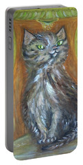 Portable Battery Charger featuring the painting Princess Kitty by Teresa White