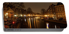 Prinsengracht Canal After Dark Portable Battery Charger by Jonah  Anderson