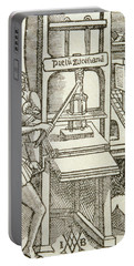 Printing Press Of 1498, From A Book Printed In That Year Engraving Portable Battery Charger