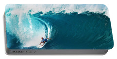 Pro Surfer Kelly Slater Surfing In The Pipeline Masters Contest Portable Battery Charger