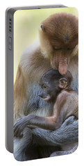 Proboscis Monkey Mother Holding Baby Portable Battery Charger