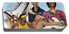 Jimi, Muhammad Ali, Wilt Chamberlain And Mae Carol Jemison Portable Battery Charger