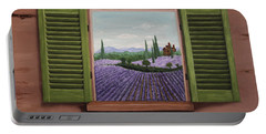 Portable Battery Charger featuring the painting Provence Lavander Fields Original Acrylic by Georgeta Blanaru