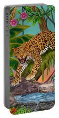 Prowling Leopard Portable Battery Charger by Glenn Holbrook