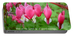 Psalms 27 14 Bleeding Hearts Portable Battery Charger