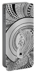 Zentangle Peacock Art, Pen Drawing, Feather Bird, Abstract Art Portable Battery Charger
